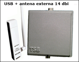 Adaptador Wireless Usb Tp-link 100mw +antena 14 Dbi 2,4 Ghz 5 mts. cable