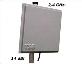 Antena Wireless 14 Dbi 2,4 Ghz. Enlace Wi-fi con 3 Mts. de cable y herraje