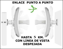 Enlace Inalambrico alto rendimiento Punto A Punto 2x2 Mimo Ac, 23 Dbi, 5,8ghz 800 Mbps.